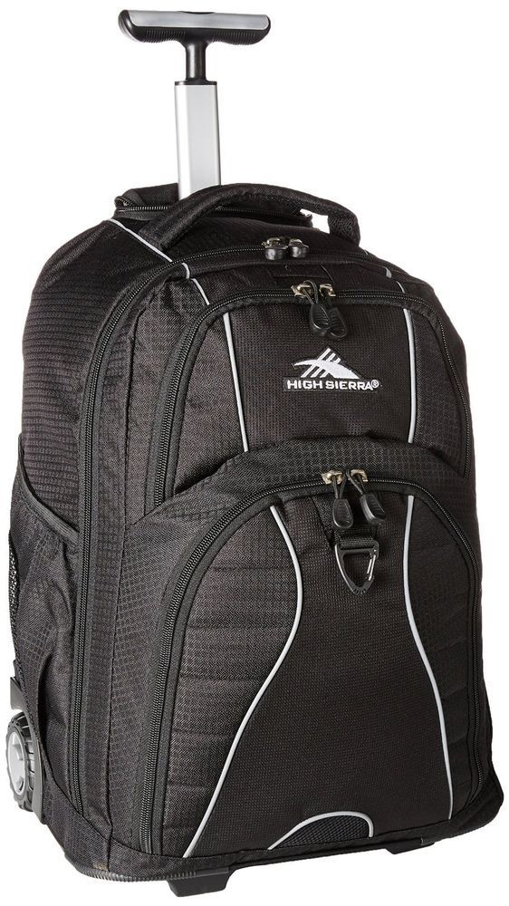 Book Bag Backpack with wheels  Black school books laptop computer luggage class #HighSierra