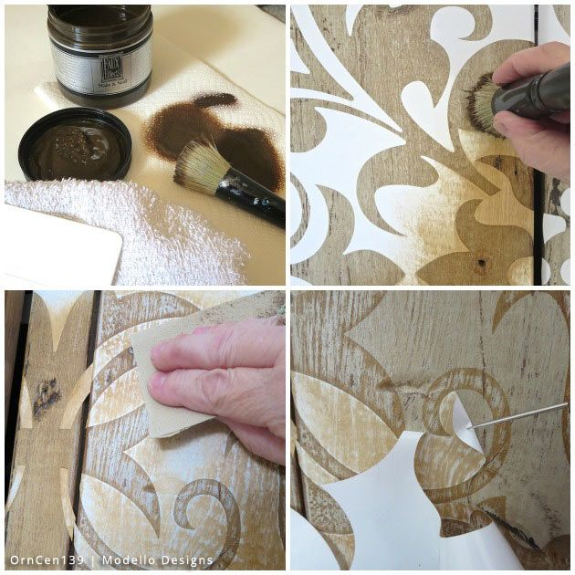 stencil how to a rustic cabinet makeover with modello stencils, diy, how to, kitchen cabinets, kitchen design, woodworking projects