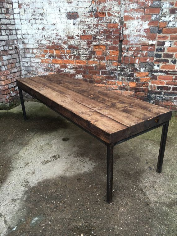 Reclaimed Industrial Sleeper 10-12 Seater Solid Wood and Metal Dining Table.Cafe Bar Restaurant Furniture Steel and Wood Made to Measure