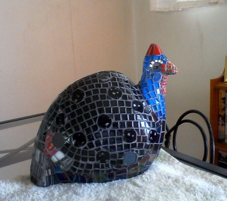 Glass mosaic bird for my sister's garden