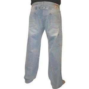 "EVISU Jeans Genes Mens Premium Straight Leg Relaxed Fit Buckle Detail Denim Pants Jeans 33"" Inseam (Apparel)"