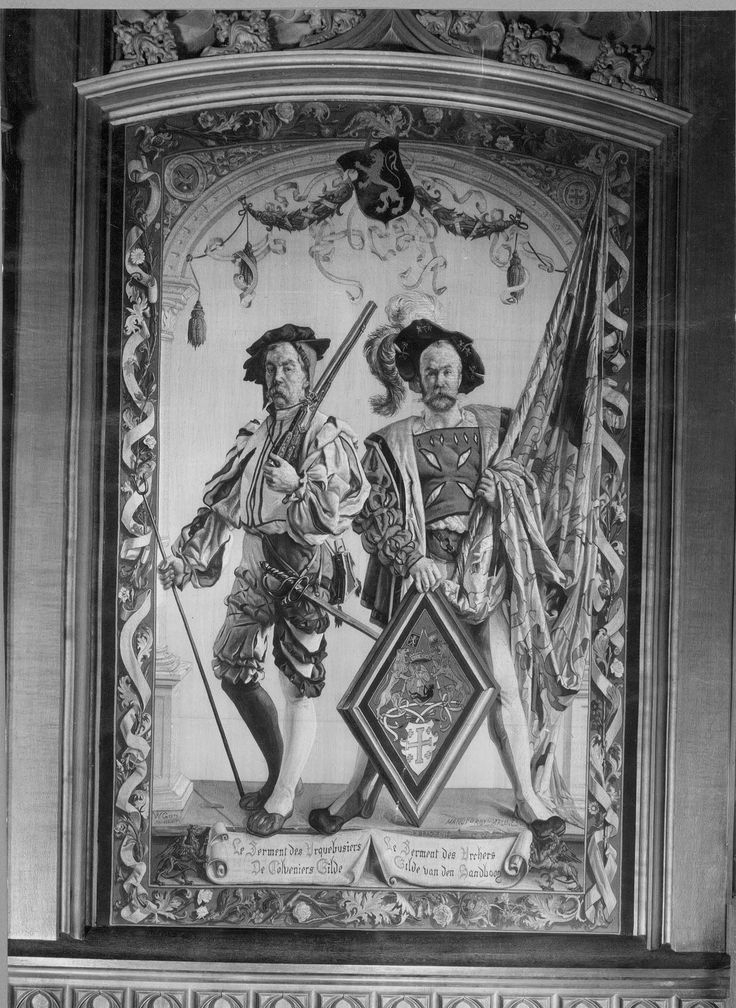 Brussel, Malines 1877, De Colveniers Gilde & Gilde van den Handboog (tapisserie murale), Hôtel de ville-salle gothique, Brussel België