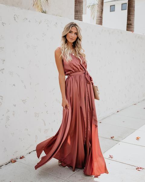 1fa87588ca5 Satin Sleeveless Diana Maxi Dress - Clay – VICI size large