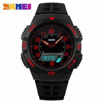 Jual Jam Tangan Pria SKMEI Dual Time Casio Men Sport LED Original AD1065 Orange