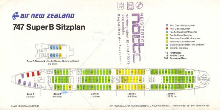 Air New Zealand 1988 German Brochure 747-200B seating plan. I took that plane numerous times for 3 tours of the Pacific.