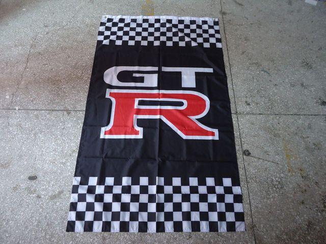 Новый GTR симуляторы флаг баннер бесплатная доставка, Nissan GT-R перпендикулярно клетчатый флаг, 90 X 150 см