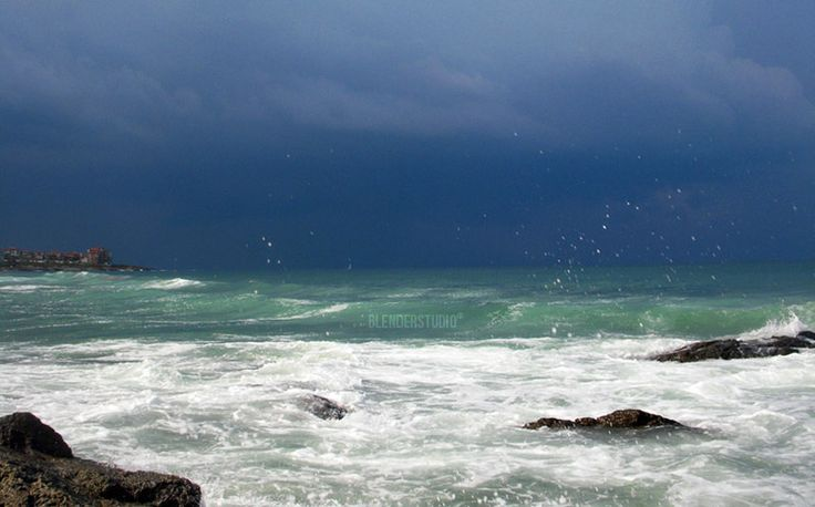 Stormy view from Harmani beach, Sozopol, Bulgaria