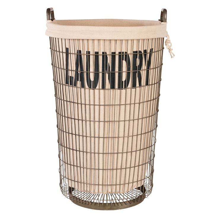 Wire Laundry Basket with Linen