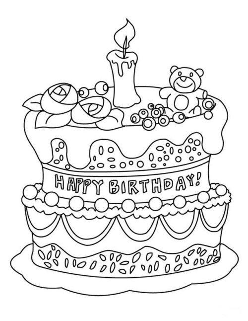 Carteles y tarjetas de feliz cumpleaños para colorear   Kawaii ...