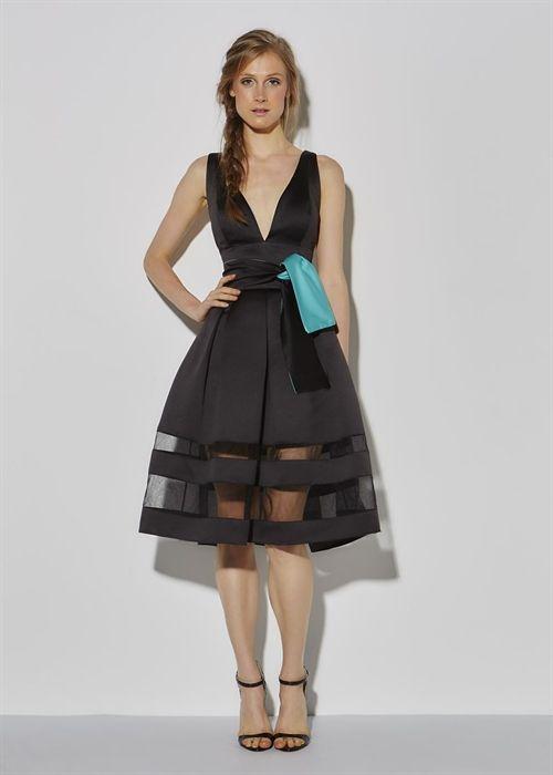 Vestido midi com faixa na cintura e barrado transparente - Vivaz | Referência em…