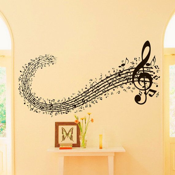Musicl Wall Decal Vinyl Sticker Musical Sign Note Notes Waves Treble Clef  Decals Bedroom Living Room Nursery Home Decor Art Mural Z665
