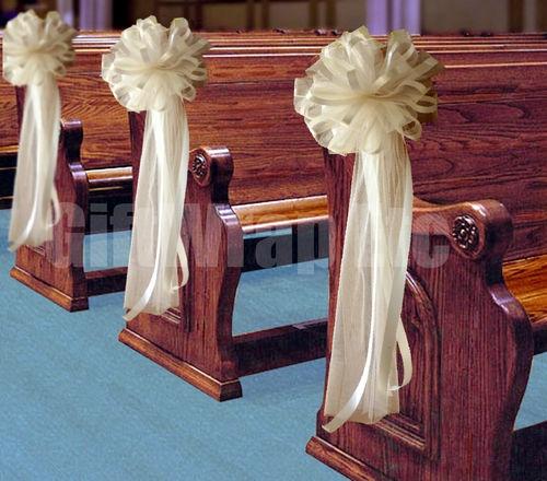 10 big unique ivory cream tulle pew bows 11 wedding for Unique wedding decorations