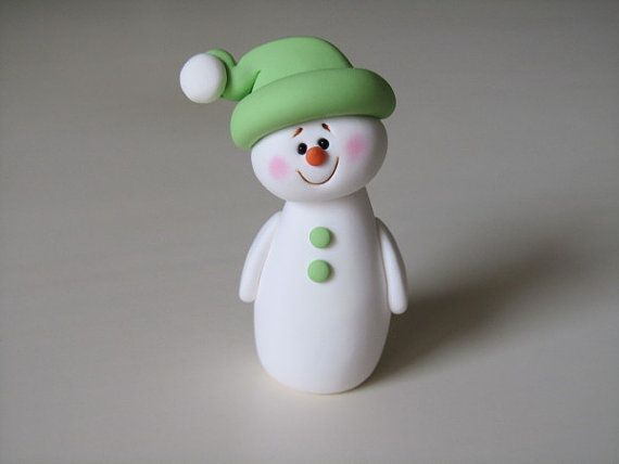 Polymer Clay Snowman Figure on Etsy, Sold