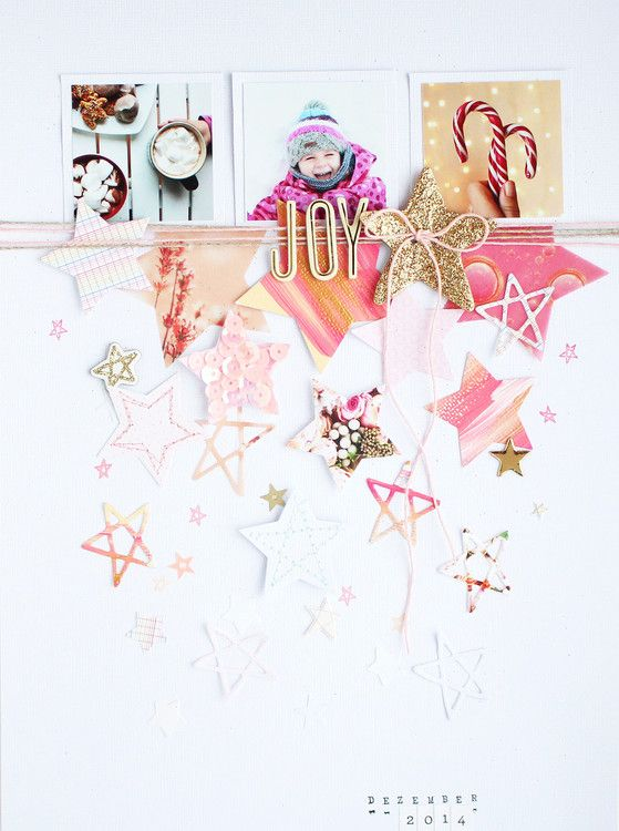 "This page oozes joy visually from the adorable photo to the ""tumbling"" stars and gradient esque ombre in the stars (color to white).  LOVE. JOY by SteffiandAnni at @studio_calico"