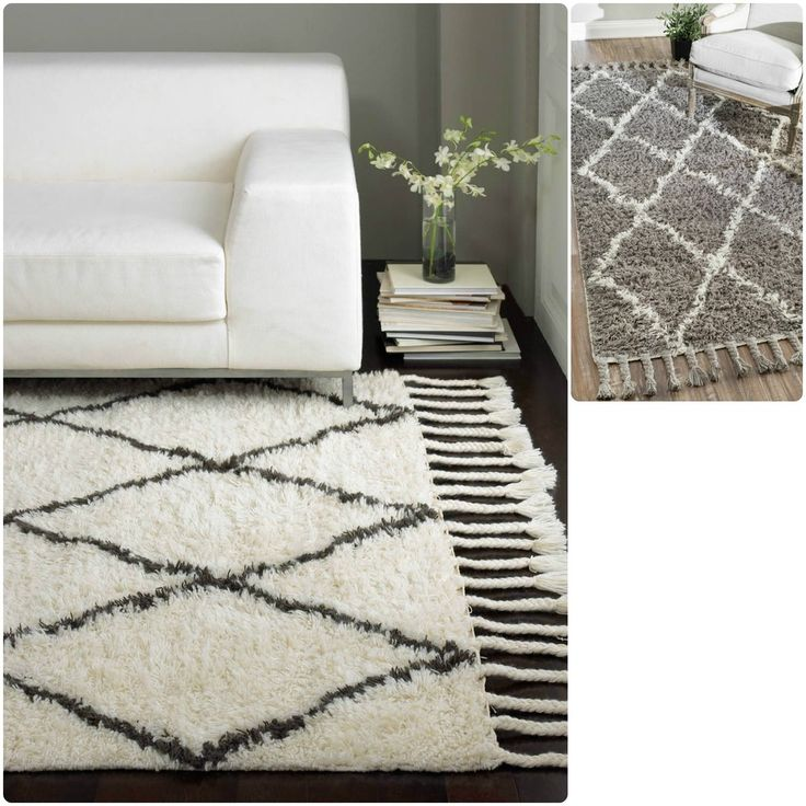 nuloom hand-knotted moroccan trellis natural shag wool rug (8' x
