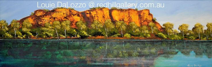 "Louis DaLozzo Outback Painting ""Nourlangie Rock, NT"" 30x90 Acrylic on board. Red Hill Gallery, Brisbane. redhillgallery.com.au"