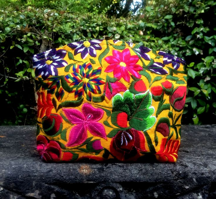 New yellow floral cosmetic bag! Also comes in pink and