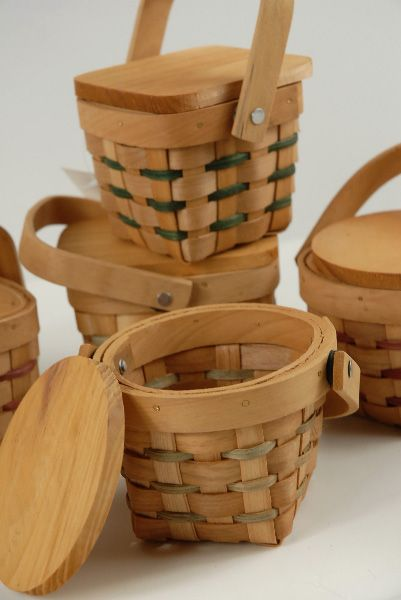 """Miniature  3"""" Wood Picnic Baskets with Lids $2.99 each / 36 for $2.29 each"""