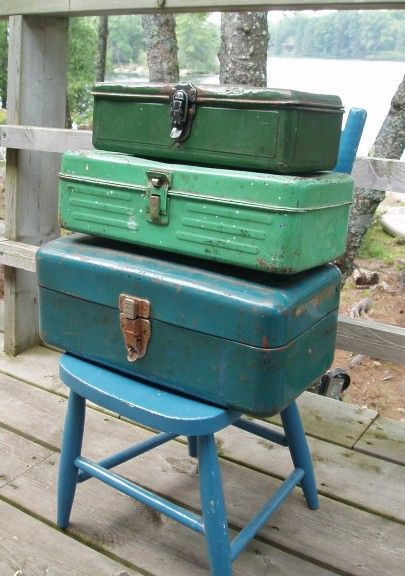 Fishing tackle boxes - i still use the metal one that belonged to my dad - p.