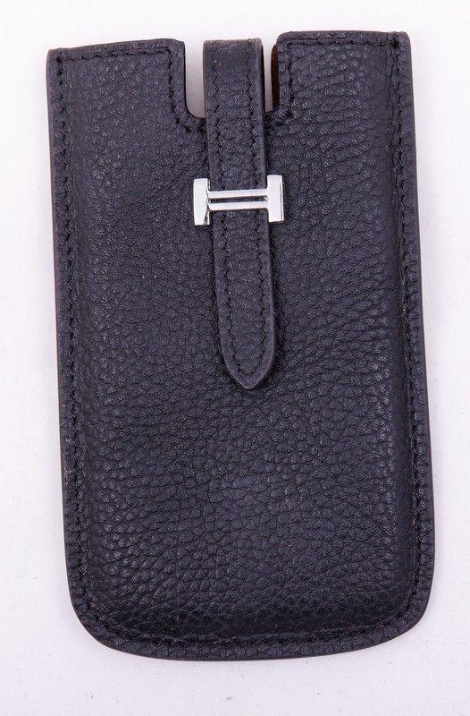 Чехол для iPhone 4/4s Hermes (Гермес) кожаный, черного цвета. Внутренний размер 11.5x6cm #19530 !! Распродажа модели !! Модель со скидкой !!