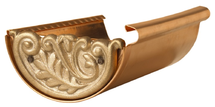 Decorative End Cap Cover Installed On 6 Quot Copper Gutter At