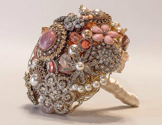 Pink brooch bouquet l bridal brooch bouquet jewel bouquet