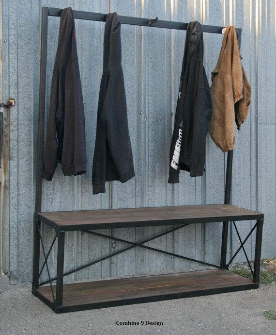 Vintage Industrial Coat Rack with Seat/Bench.