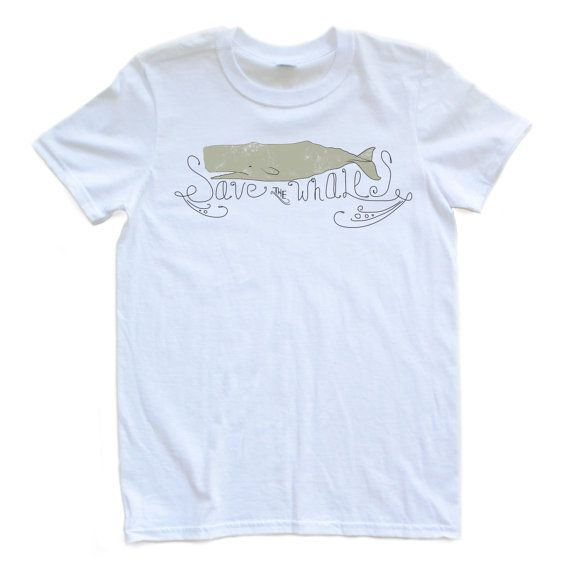 Save the Whales Eco Friendly Whale Design Adult Tee by apericots