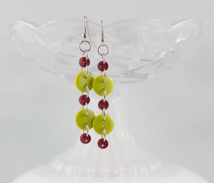 Christmas red green dangling button earrings party girl