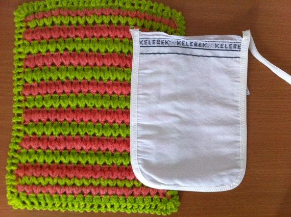 Green and Peach Turkish Washcloth with FREE by CouchCrochetCrumbs, $10.50