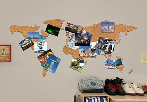 Perfetto per i viaggiatori che vogliono tenere traccia di dove sono stati e di dove vorrebbero andare in futuro. Una mappa del mondo ricavata dal sughero, autoadesiva, che consente ampie personalizzazioni. Perfetta per allegare foto, cartoline, biglietti e ricordi.