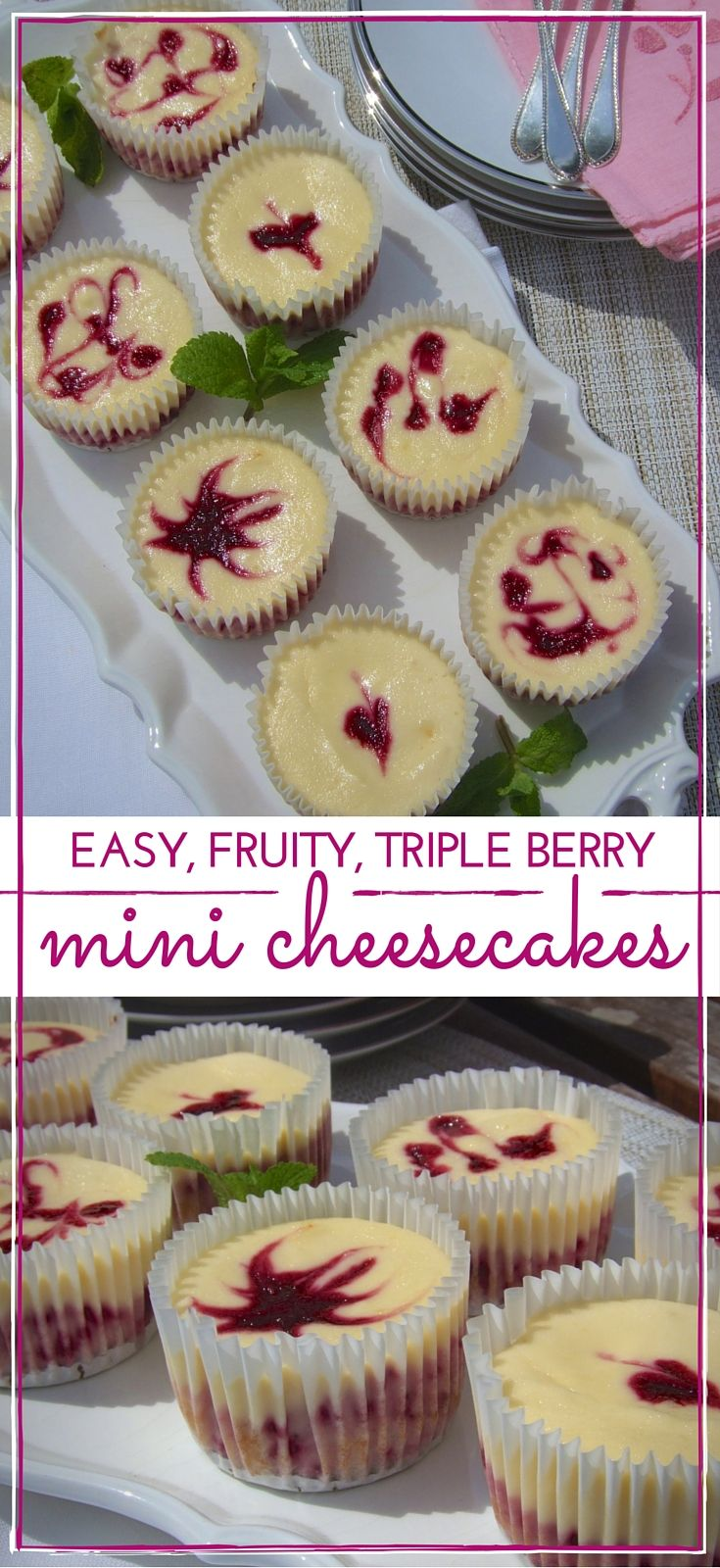 Fruity berry cheesecake topped by a plain cheesecake layer, & decorated with berry syrup swirls. These cute & easy individual cheesecakes are just divine!