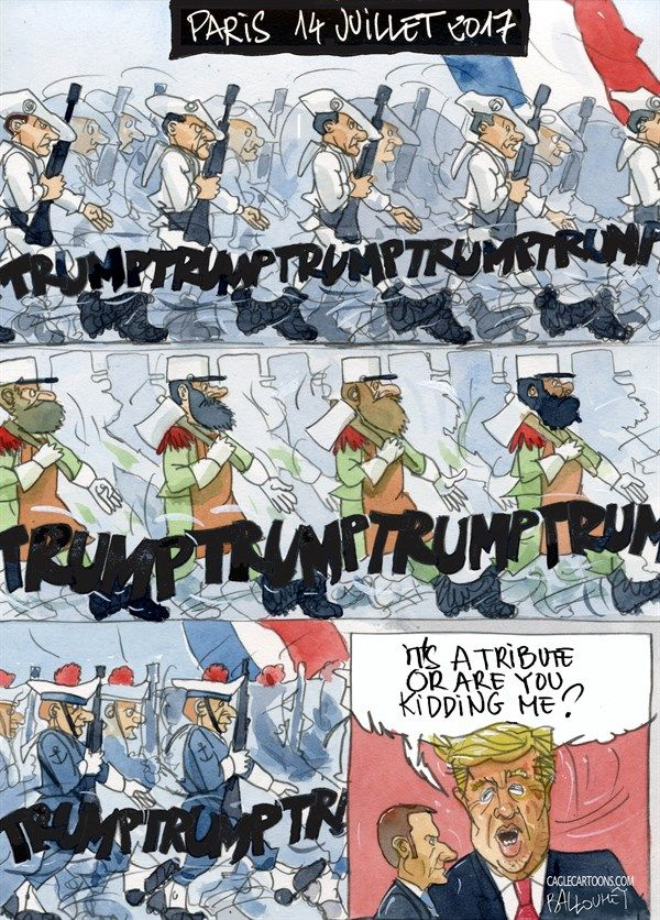 Give him a personal tour of M. Guillotine's invention, please.    Pierre Ballouhey - France, PoliticalCartoons.com - Paris, July 14th parade - English - Donald Trump, Paris, Macron, Military parade July 14th