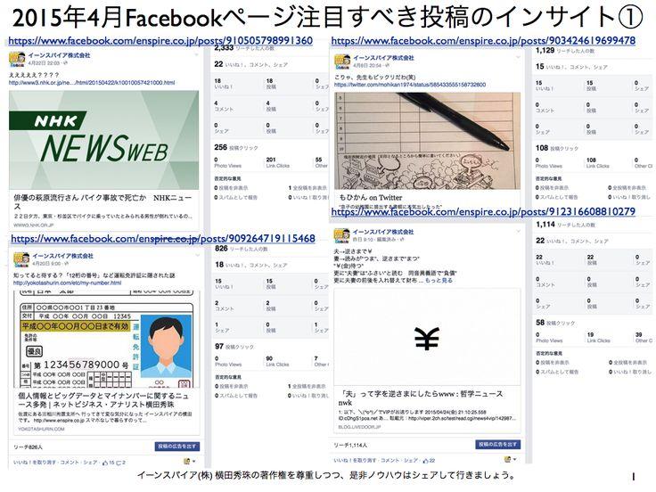 2015年4月度Facebookページ投稿いいね数ランキング20 http://yokotashurin.com/facebook/201504_page.html