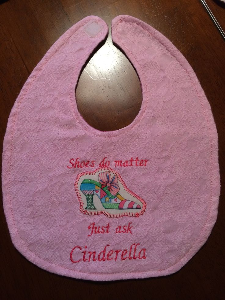 "Embroidered.. ""Shoes do matter...just ask Cinderella""  Size approximately 9""W x 11""L ... $10"
