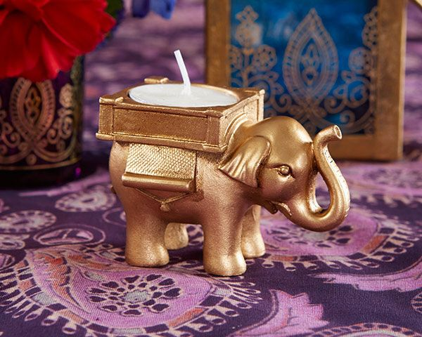 Lucky Elephant Golden Tealight Holder Indian Wedding Favors (Kate Aspen 25062GD) | Buy at Wedding Favors Unlimited (http://www.weddingfavorsunlimited.com/lucky_elephant_golden_tealight_holder_indian_wedding_favors.html).
