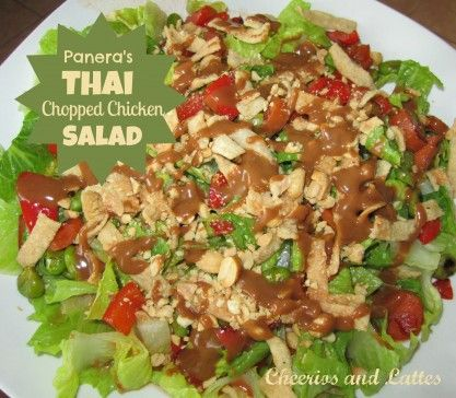 Copy-cat Panera's Thai Chopped Chicken Salad  Well, it has arrived! My Make-At-Home Panera's Thai Chicken Salad, that I think is even better than Panera's! The main reason is because I LOVE this peanut sauce drizzle and can have as much as I desire at home!