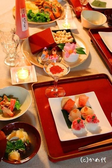 今年のひなまつり: かめ代の季節を愉しむ食卓
