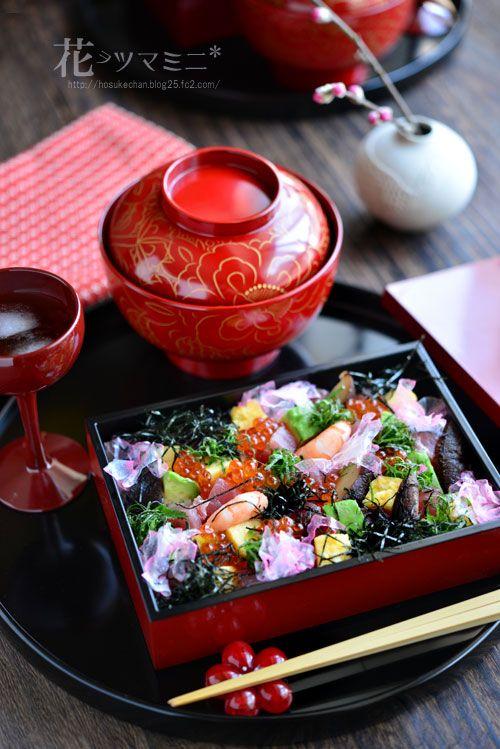 日本人のごはん/お弁当 Japanese meals/Bento 雛ちらし - HINAMATURI SUSHI 春らしい早緑とピンク, 黄色…