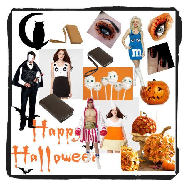 """Happy Halloweeeeeeen!"" by bellavitausa ❤ liked on Polyvore featuring Panda, cake pops, costumes, vampire, bellavita, candy corn and pumpkins"