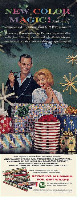 """""""Reynolds Aluminum Christmas Ad"""", """"c1958""""    """"Mom bought Dad the """"special"""" tobacco mixture for his pipe. Now even the visiting in-laws won't bother him!"""""""
