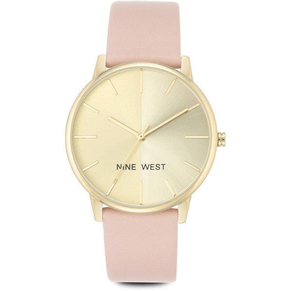 Nine West Kaelah Strap Watch ($49) ❤ liked on Polyvore featuring jewelry, watches, pink metallic, pink watches, nine west, nine west jewelry, metallic jewelry and slim wrist watch