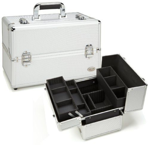 """Seya Professional Makeup Case w/ 3 Trays - Silver Aluminum by Seya. $59.95. Large storage space underneath trays for larger accessories and products. Lock and key included. Overall case dimension: 14.5"""" L x 9.5"""" W x 9.75"""" H. Easy smooth slider for quick and accurate access. Heavy duty swivel handle. 3 extendable trays (2 small and 1 large) with removable/adjustable dividers. Silver aluminum exterior with silver aluminum trim. Large tray dimension: 12.25"""" L x 3.5"""" W x 3"""" H------..."""