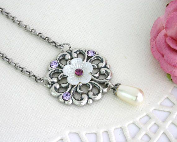 Purple wedding jewelry Purple wedding necklace by AlinYerushalmi