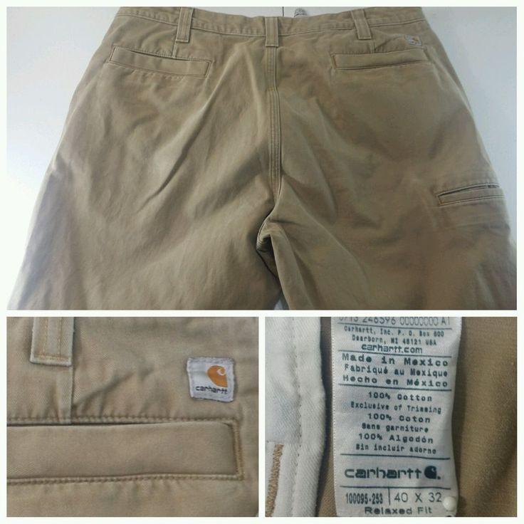 Carhartt Carpenter Work Pants Cargo Dark Khaki Relaxed Fit Men's Tag Size 40x32 #Carhartt #Carpenter