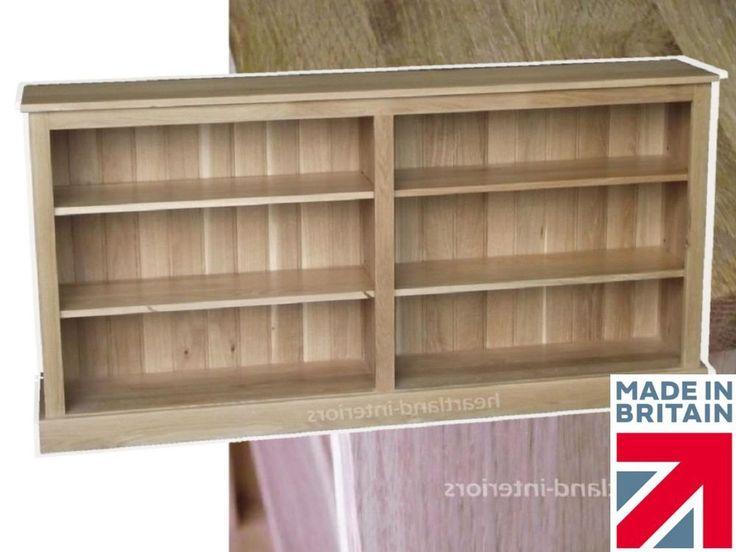 Charming Solid Oak Bookcase, Low 6ft Wide Adjustable Display Shelving Unit,  Bookshelves