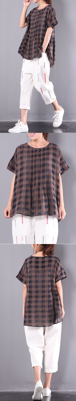 chocolate plaid wrinkled cotton tops plus size casual tops short sleeve t shirt