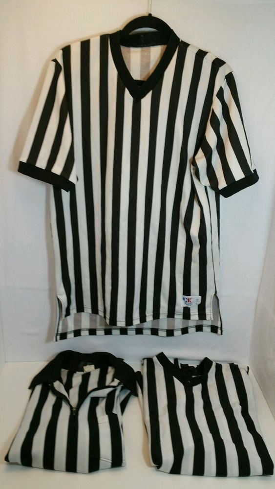 Lot 3 Black & White Striped Ref Referee Uniforms size L large gr8f or costume #cliffkeenathletic #ShirtsTops