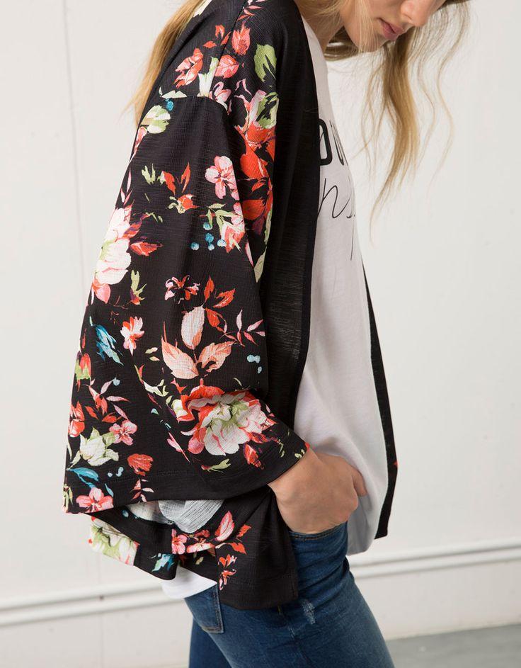 Kimono Bershka imprimé fleurs - Blazer & Kimonos - Bershka France