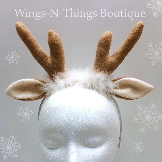 REINDEER ANTLER HEADBAND, Christmas Costume Accesssory, gift, xmas, fawn, doe, buck, photo prop, favor, toddler, adult, kids, child